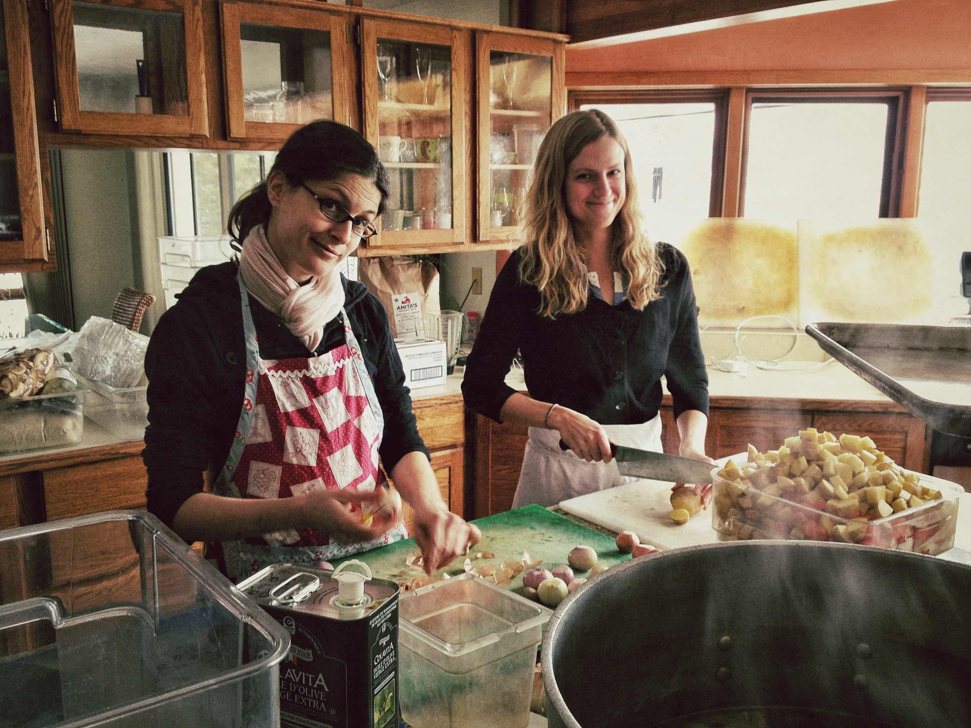 Kat and I chop, chop, chopping!