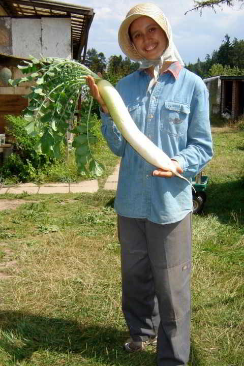 Heather with daikon