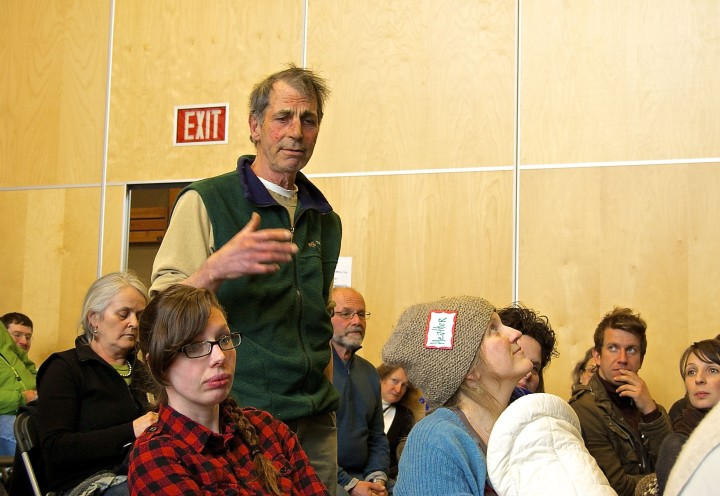 Corky sharing land access ideas at Young Agrarians Mixer in March 2014.