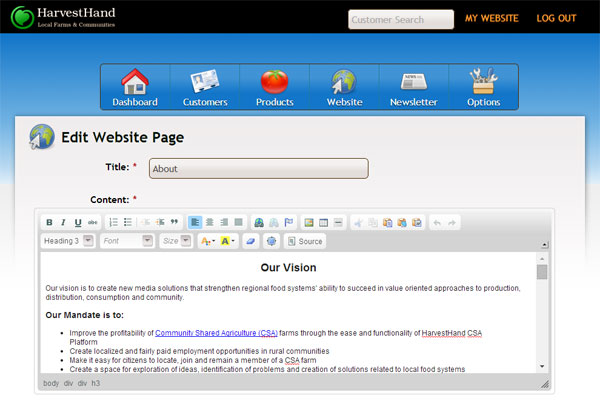 Software Tools like Harvest Hand include a Web Site Builder