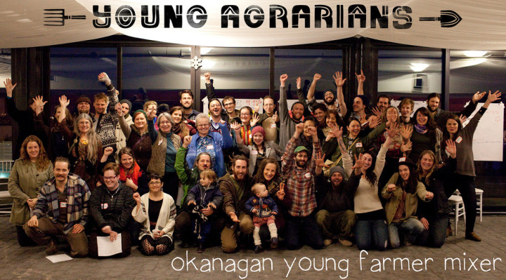Group Photo of New Farmers at Young Agrarians Okanagan Winter Mixer