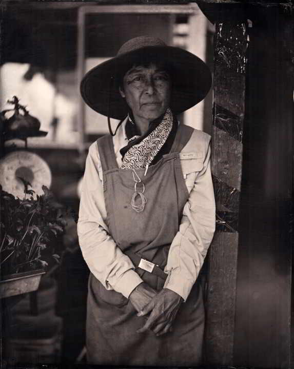 B&W Picture of Umi Nami Farm's Yoshiko Unno from Island Farmers Alliance Of Land & Sea Photo Series
