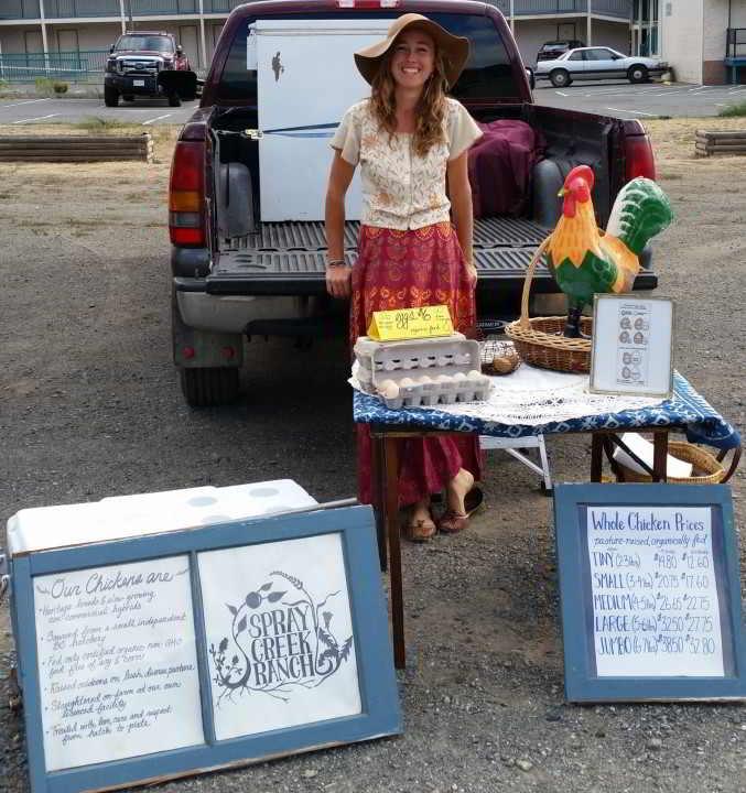Spray Creek Ranch set up at the Lillooet Farmer's Market