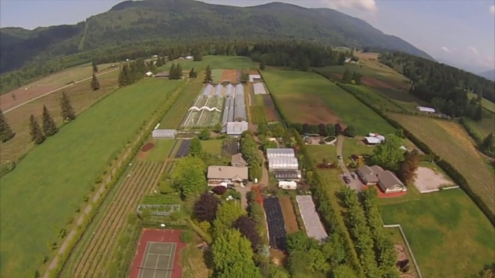 Birds Eye View of Shalefield Organic Gardens, a biodynamic farm, in Lindell Beach, BC