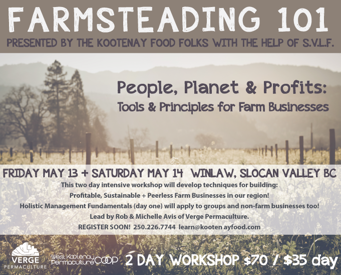 Farmsteding Workshop; People Planet & Profit. Kootenay Food