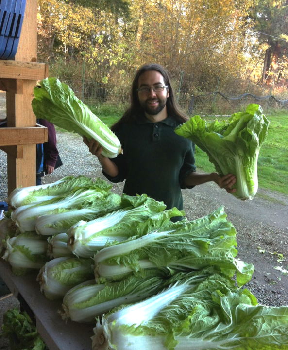 Umbella Farm's Russell with Giant Organic Cabbage