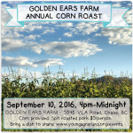 September 10: CHASE, BC – Golden Ears Farm Annual Corn Roast & YA Farm Tour
