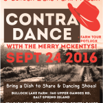 SEPT 24: Salt Spring Island – Contra Dance at Bullock Lake Farm with The Merry McKentys