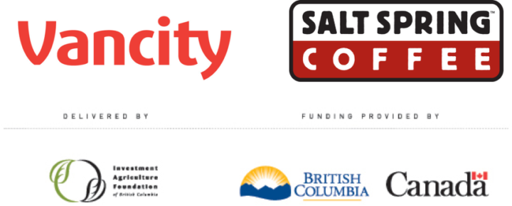 Funder Logos: Investment Agriculture Foundation of British Columbia, Salt Spring Coffee, Vancity Credity Union