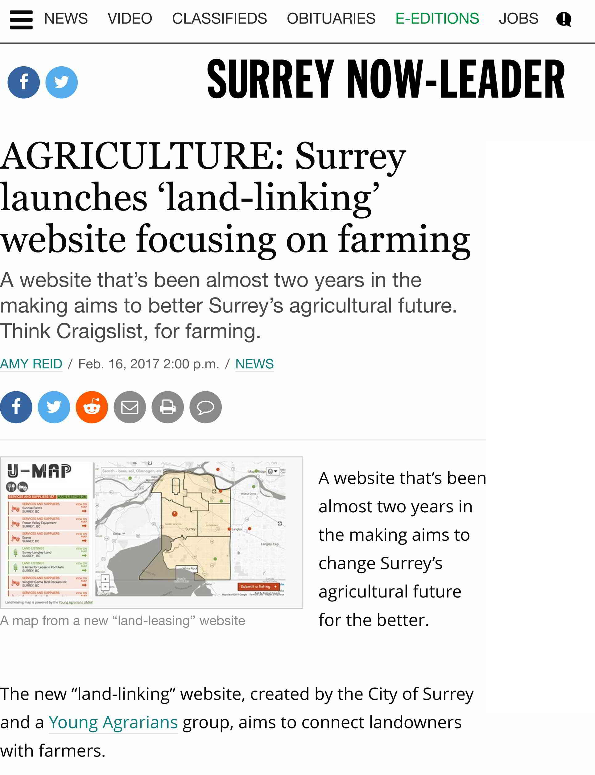 AGRICULTURE: Surrey launches 'land-linking' website focusing