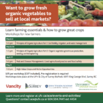 MARCH 3 – MAY 5: SURREY, BC – Workshops for New Farmers at UFV