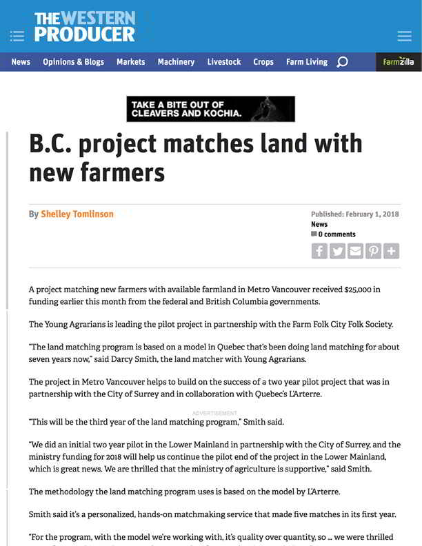 B.C. project matches land with new farmers - The Western Producer