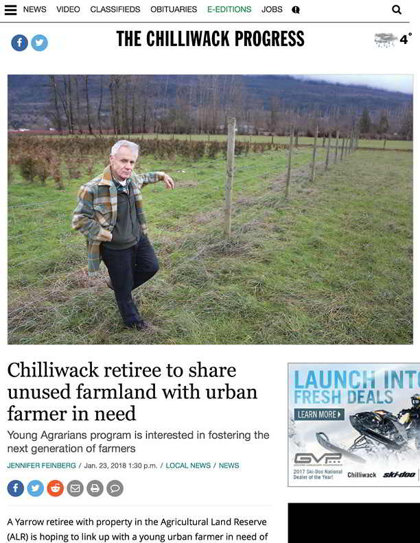 Chilliwack retiree to share unused farmland with urban farmer in need - Chilliwack Progress (2018-02-06 12-41-26)