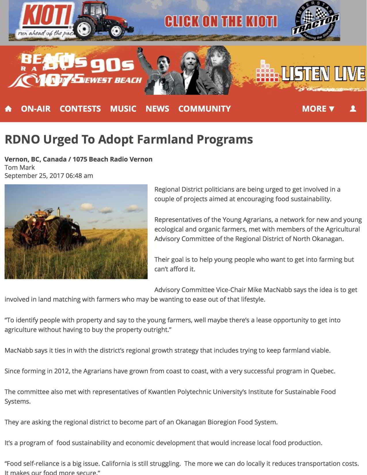 Feature image - RDNO Urged To Adopt Farmland Programs | 1075 Beach Radio Vernon (2018-02-11 22-17-52)