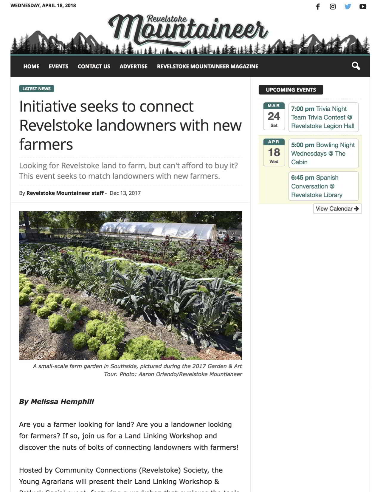 Initiative seeks to connect Revelstoke landowners with new farmers - Revelstoke Mountaineer (2018-04-18 12-11-34)