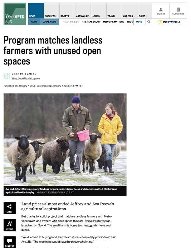 Program matches landless farmers with unused open spaces | Vancouver Sun (2018-01-08 12-41-16)