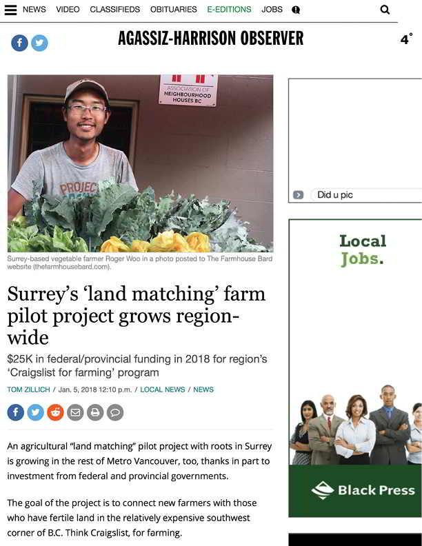 Surrey's 'land matching' farm pilot project grows region-wide - Agassiz Harrison Observer