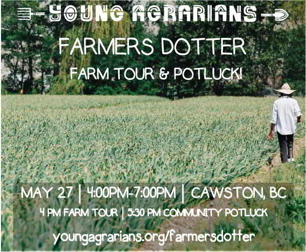 Farmers Dotter Organics Farm Tour & Potluck promo graphci