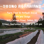Sept. 14 – Salix and Sedge Farm Tour & Potluck Social