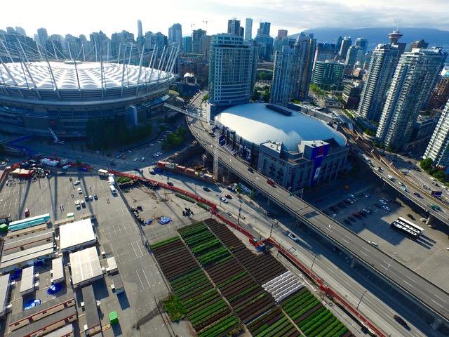 Aerial Vancouver City skyline - SF Farm in bottom right corner
