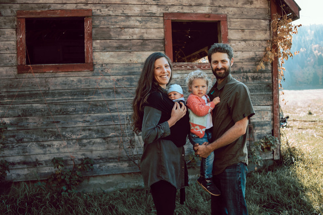 Family in front of barn, Fresh Valley Farms, farm job, Armstrong bc