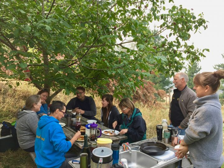 Potluck at the multi-farm tour, north end of Kootenay Lake, August 2018
