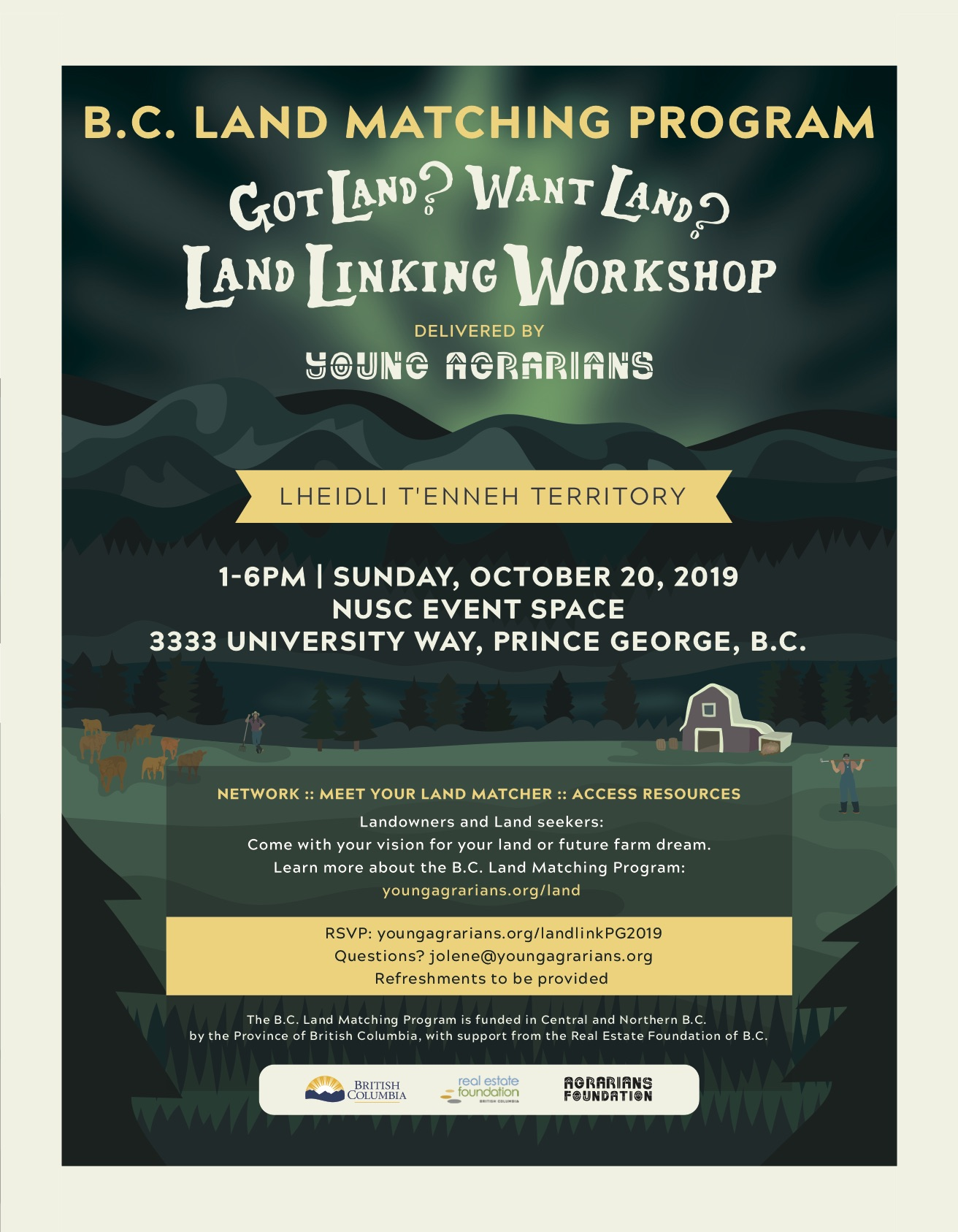 Young Agrarians Prince George Land Link 2019 Poster