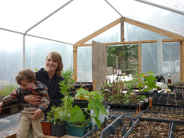 Kim Watt in the greenhouse at Thimble Hill Orchard and Nursery