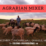 Dec 7, 2019: Onanole, MB – Agrarian Mixer & Potluck at Rackham Hall