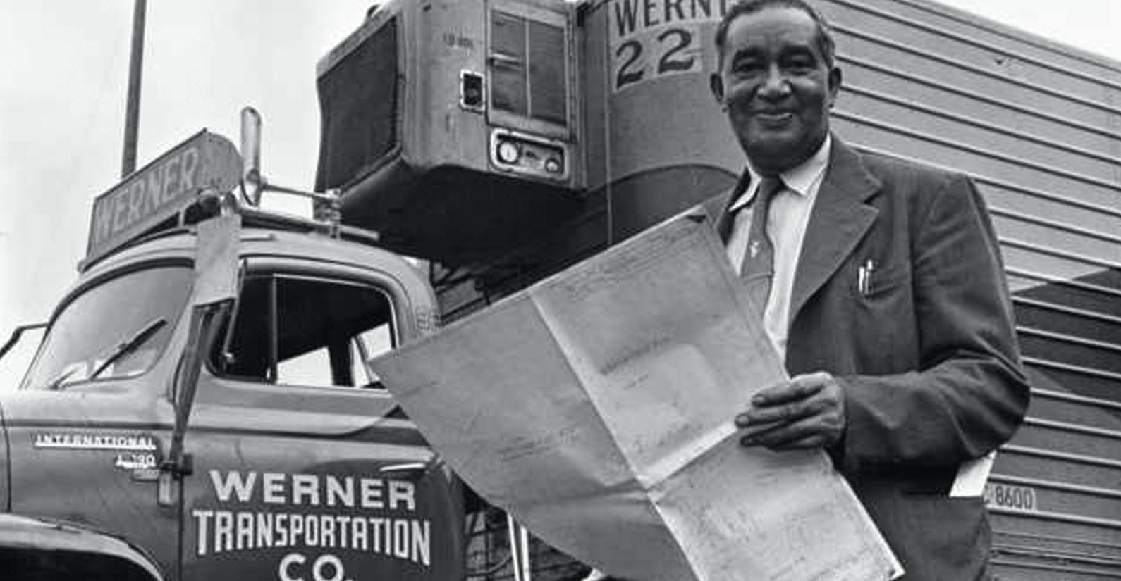 Frederick McKinley Jones with truck air conditioner