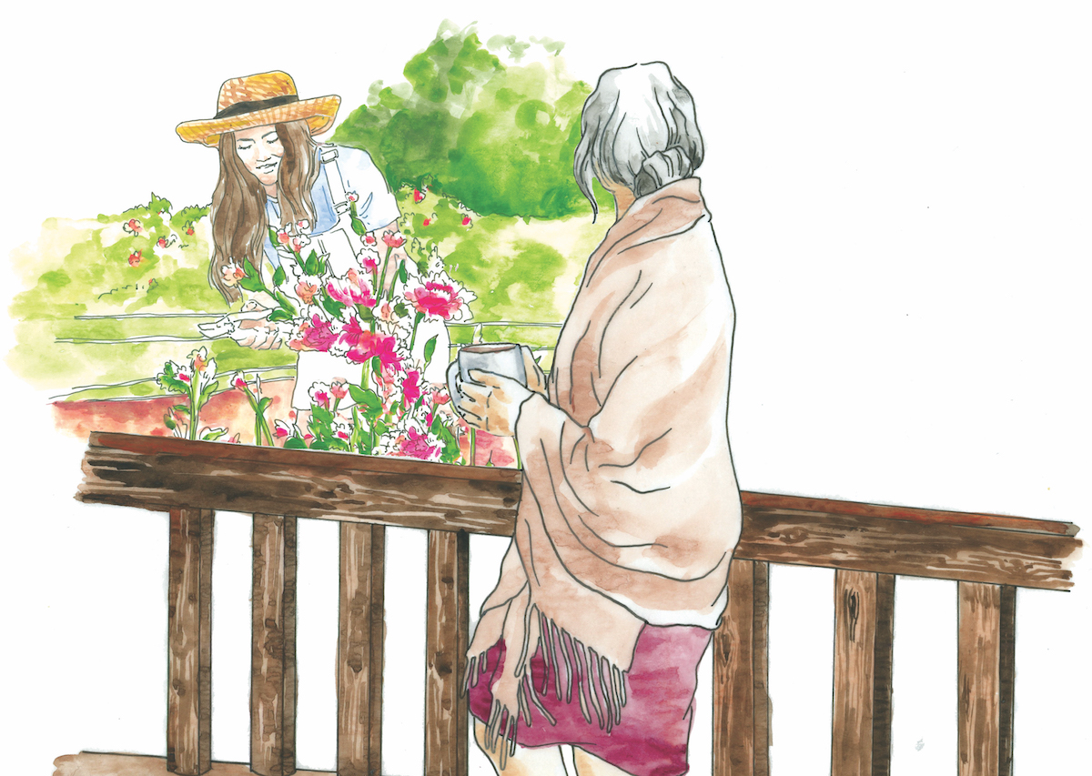 Illustration of a woman, retired farmer, on her porch drinking coffee. In the background, her successor, a woman farmer, harvests flowers
