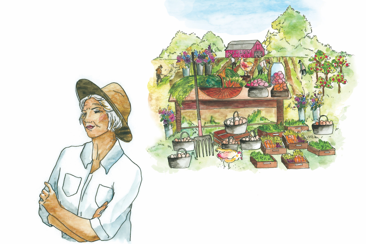 Non-Family Transition, female farmer envisions the future with an abundant farm ecosystem in the background